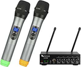 Fifine UHF Dual Channel Wireless Handheld Microphone, Easy-to-use Karaoke Wireless..