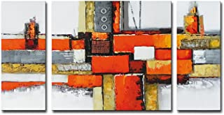 Noah Art-Contemporary Abstract Artwork, 100% Hand Painted Gallery Wrapped Abstract Oil Paintings on Canvas, 3 Piece Framed...