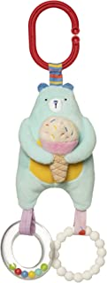 Manhattan Toy Cherry Blossom Days Baby Bear Travel Toy with Rattle Ring, Squeaker and Soft Silicone Teether