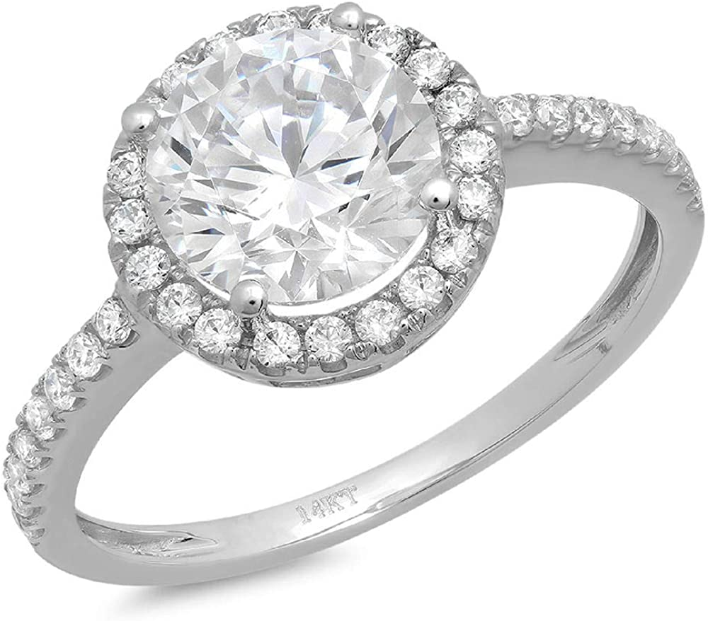 Clara Pucci 2.05 Ct Round Cut Halo Solitaire Promise Wedding Engagement Bridal Anniversary Ring Band 14K White Gold