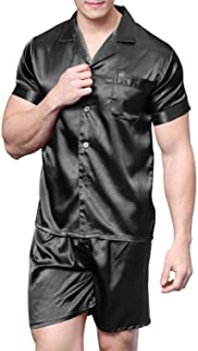 Men's Satin Pajamas Short Button-Down Pj Set Sleepwear Loungewear
