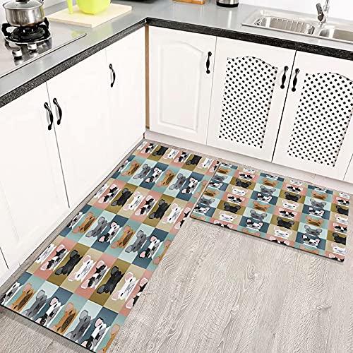 Tappeti Cucina, Tappeti Antiscivolo Bulldog francese a tema animale Impermeabile, Resistente all'olio Durevole zerbino Lavabile