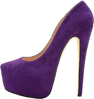 3e31f8d43a63 Onlymaker Women s Round Toe Super High Heel Platform Stiletto Slip On Pumps  for Wedding Party Shoes
