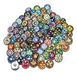 Soleebee Mezclado al Azar 18 mm de Aluminio de Vidrio Insight guías Snap Button Joyería encantos Accesorios DIY (Paquete de 30)