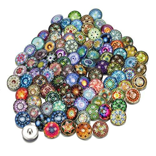 Soleebee Glas Aluminium Click Button fit 5.5mm-Knopfloch Schmuck Charms zufällig - Exotisch zufällig (30 Stücke)