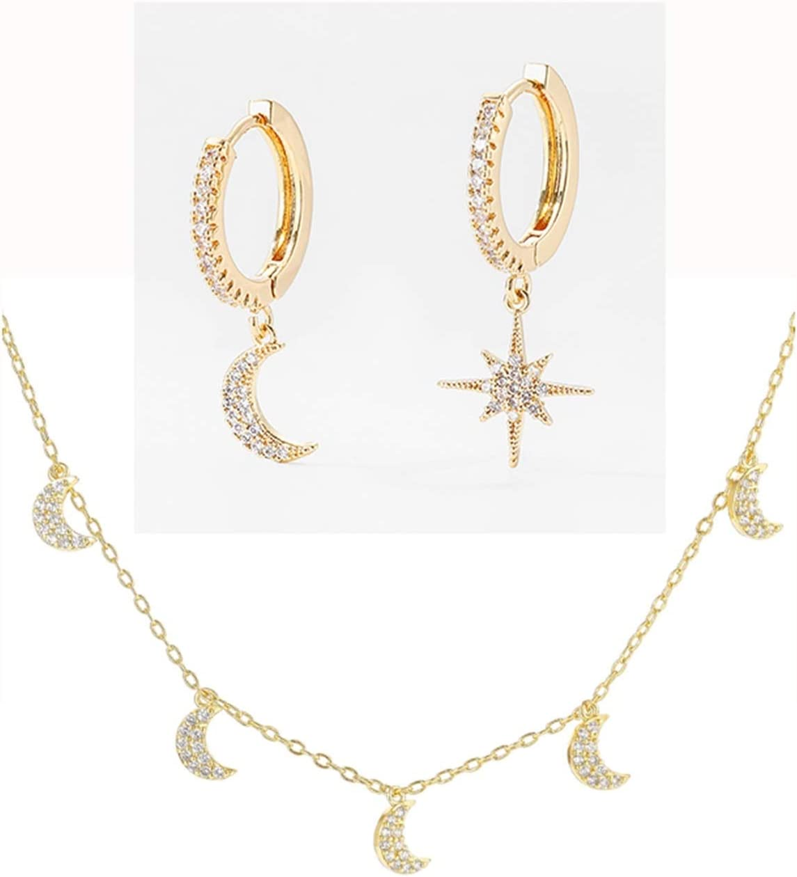 SFQRYP Long-awaited Cubic Zirconia Moon Star for Women Necklace Set OFFicial store Earrings
