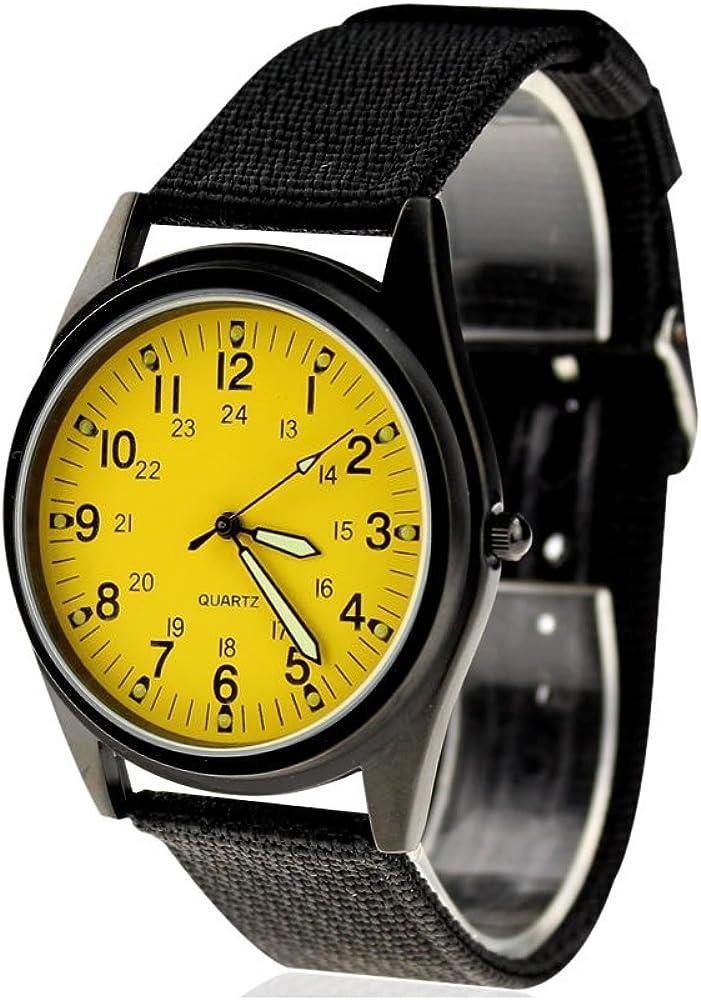 KTC Fashion Black Case Yellow Dial Max 78% OFF Sales Nylon Fabric Watc Strap Wrist