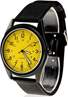 KTC Fashion Black Case Yellow Dial Nylon Fabric Strap Wrist Watch ORK075