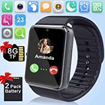 Smart Watch July Deals with SIM SD Card Slot Fitness Activity Tracker Pedometer Remote Camera Music Player Touch Screen Long Life Battery Unlocked Cell Phone Watch Compatible iOS Android for Adult Kid