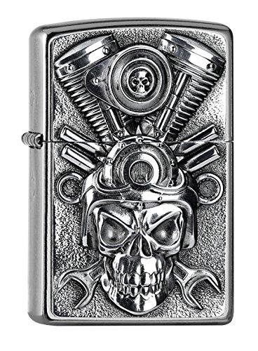 Zippo Engine Skull Feuerzeug, Messing, Street Chrome, One Size
