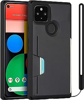 جراب محفظة لهاتف Google Pixel 4a 5G - حامل بطاقات الائتمان [حماية من السقوط] مع شريط معصم - أسود