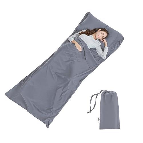 Soft Sleeping Bag Liner - Lightweight Travel Sheet Camping Sleep Bag Prevent Dirty On Business Hotel,90 * 220cm (Grey)