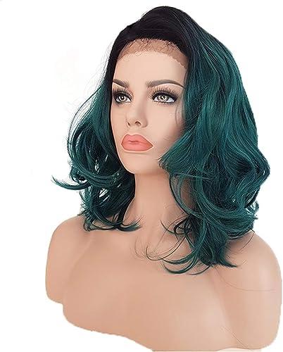 Kurz Ombre Wellig Grün Farbe Spitze Vorderseite Perücken Seite Teil LOB Haar Synthetik Spitze Vorderseite Perücke