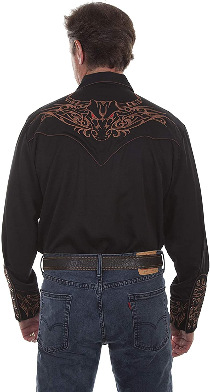 Scully Men's Steer Head Embroidered Long List price Sleeve Spasm price Western Shirt