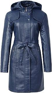 GUOCU Womens Long Thick Fake Fleece Coat Hooded Leather Zip Up Biker Jacket with Adjustable Waist