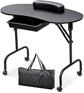 Yaheetech Manicure Nail Table Station - Portable & Foldable Nails Desk Spa Beauty Salon Technician Equipment w/Client Wrist Pad/Sliding Drawer/Lockable Wheel/Carrying Case 37