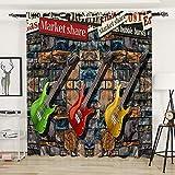GenericBrands Cortinas Opacas - Guitarra de Rock de Color - W168X183cmX2 Panel - Opaca Cortina de Ojales Sombreado para Sala de Estar Dormitorio Cocina para niños Hogar Dormitorio Salón