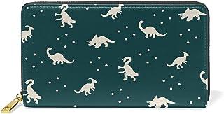 MASSIKOA Cartoon Colorful Dinosaur Womens Clutch Purses Organizer And Handbags Zip Around Wallet
