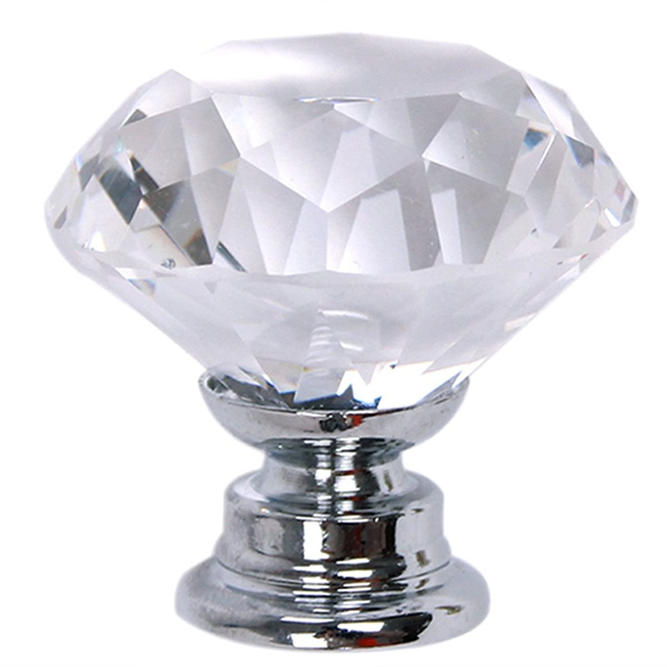 Dolland 1 Diamond Shape Crystal Glass Cabinet Knob Cupboard Drawer Pull Handle/Great for Cupboard, Kitchen and Bathroom Cabinets, Shutters, etc ,White