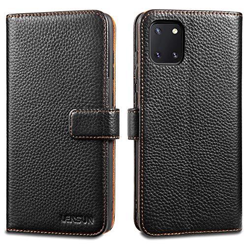 LENSUN Funda Samsung Galaxy Note 10 Lite, Funda de Cuero Genuino con Tapa Cierre Magnético y Ranuras para Tarjetas Carcasa Libro Protección para Samsung Galaxy Note 10 Lite - Negro (N10L-LG-BK)