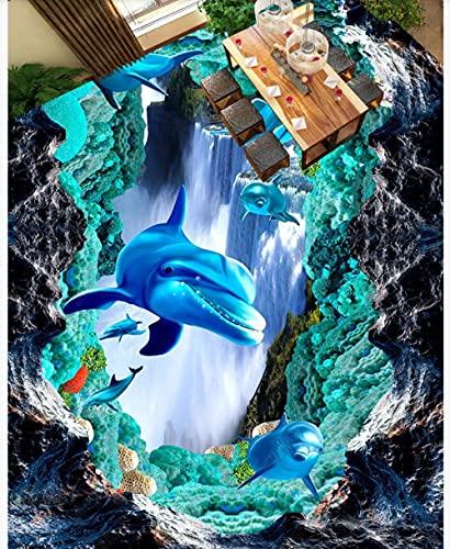Custom 3D Mural Floor Wallpaper Ocean Waterfall Dolphin Sky Badezimmer Gehweg PVC Wear wasserdicht für Badezimmer 3D Boden Wandaufkleber Küche 300X210cm