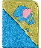 Be Mammy Kapuzenhandtuch Babyhandtuch aus Baumwolle Oeko-Tex Standard 100 100cm x 100cm BE20-240-BBL (Blau - Elefant)