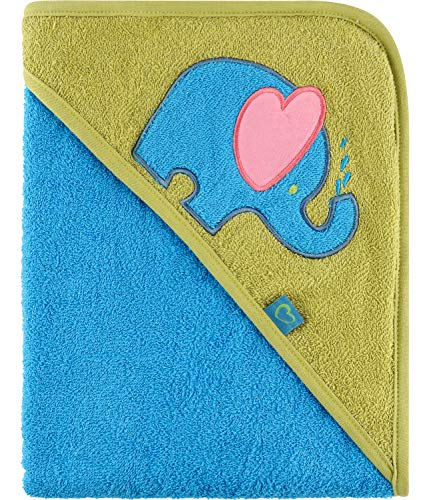 Be Mammy Toalla con Capucha de Algodón de Bebé Oeko-Tex Standard 100 100cm x 100cm BE20-240-BBL (Azul - Elefante)