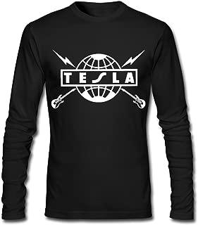 Men's Tesla Rock Band Logo Long Sleeve T-Shirts Black