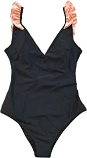 Women's Black with Pink Ruffle V-Neck One-Piece Swimsuit
