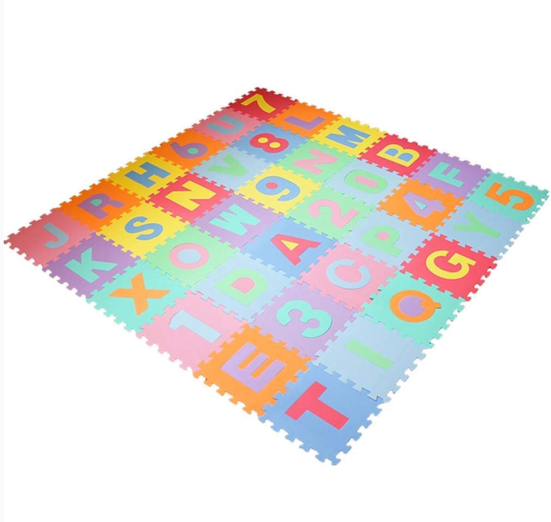 AWSW Kinder Puzzle Schaumstoff Matte verdickt Brief Baby genht Cartoon Baby Crawl Matte Nummer ungiftigE Baby Nickerchen Matte 30 x 30 dick 1cm 36 Stück verpackt
