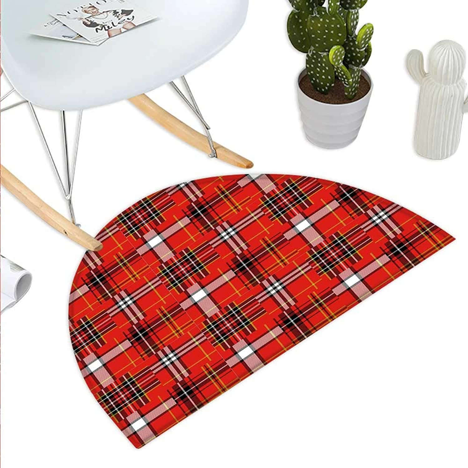 Plaid Semicircle Doormat Traditional Tartan Pattern European Culture Inspiration Abstract Geometric Motifs Halfmoon doormats H 43.3  xD 64.9  Multicolor