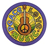Peace, Love, and Music Magnet for Car Locker or Refrigerator, 5 1/2 Inch