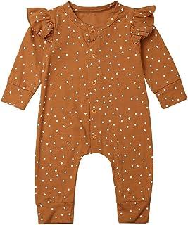 Body de bebé unisex con lunares y manga larga para bebé, de algodón elegante