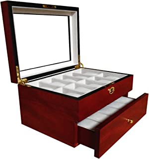 20 Piece Cherry Wood Men's Watch Box Display Case Collection Jewelry Box Storage Glass Top