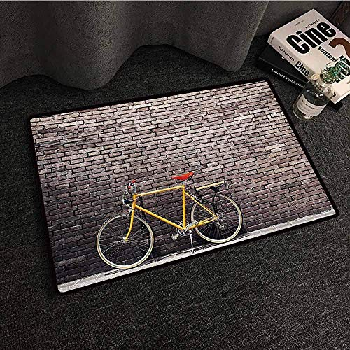 Zhong Shan Floor MAT Colorful Bicycle,Past Times Aesthetic Road Bike Lean Brick Wall Outdoor Daily Town Life Photo,Yellow Red
