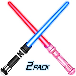 Ziwing 2 Pack Light Up Sword & Saber with Colorful LEDs and Sounds for Warrior and Galaxy Wars Idea - Glow Party & Xmas Gifts