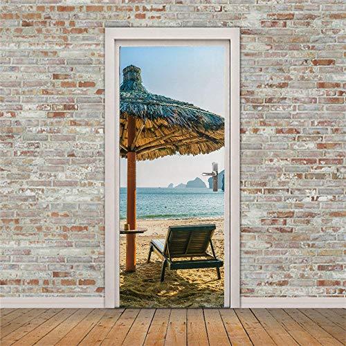 Adhesivo decorativo para puerta en 3D de arte moderno, 88 x 200 cm, vinilo extraíble para puertas interiores, dormitorio, sala de estar, baño, decoración del hogar, mar, playa, tumbona