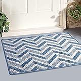 MAPLEZ Indoor Doormat Large Size 24'x36' Outdoor Doormat Absorbent Resist Dirt Floor Mat Non Slip Rubber Back Low-Profile Entrance Door Mat Machine Washable (Blue)