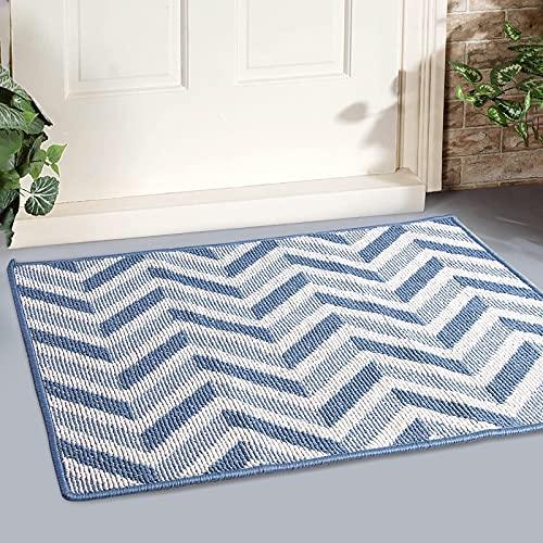 """MAPLEZ Indoor Doormat Large Size 24""""x36"""" Outdoor Doormat Absorbent Resist Dirt Floor Mat Non Slip Rubber Back Low-Profile Entrance Door Mat Machine Washable (Blue)"""