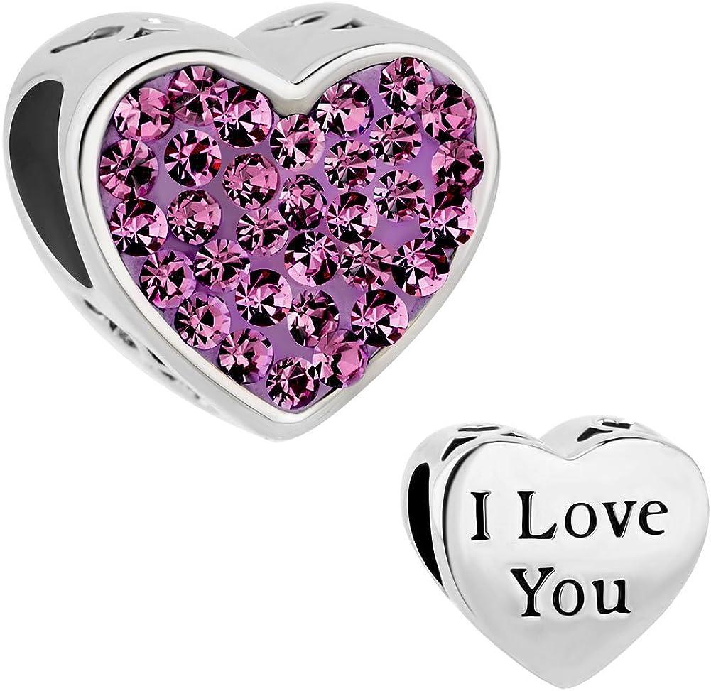 ReisJewelry I Love You Charms Heart Crystal Charm Bead for Bracelets