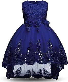 YLQ 光沢のあるスパンコールリトルガールズプリンセスページェントドレスハイローガウンダンスチュチュトレインフラワーガールズドレスキッズガールズノースリーブ刺繍レースイブニングパーティーウェディングドレス (パターン : 青, サイズ : 120)