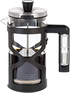 DWËLLZA KITCHEN French Press Coffee Maker - with Hourglass Handle Timer - 34oz - 3 Level Reusable Stainless Steel Filtrati...