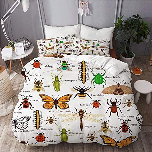 Duvet Cover Set bee Ladybug Firebug Worm Mole Insects Decorative Papilio Ladybird Bumblebee Education Home Hotel Dorm Decorative 3pcs Bedding Set Matching 2 Pillow Shams C2234