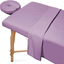 Saloniture 3-Piece Microfiber Massage Table Sheet Set - Premium Facial Bed Cover - Includes Flat and Fitted Sheets with Face Cradle Cover - Lavender