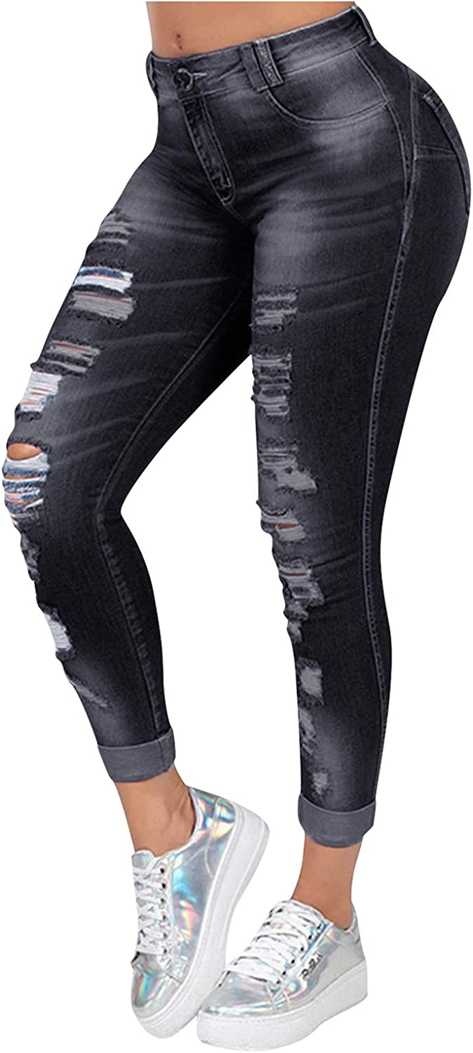 FUNEY Women's Skinny Stretch Ripped Jeans Destroyed Denim Pants Fashion Oversized Casual Slim Fit Long Pencil Jeans