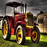 N / A Retro Car Agriculture Tractor Oil Painting Poster and Photo For Home Living Room Mural Frameless 60x90cm