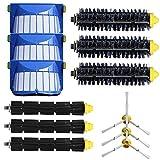3pc Borstenpinsel + 3pc flexible Klopferbürsten + 3pc 3-armige Seitenbürsten + 3pc Filter Kit für iRobot Roomba 600 Serie 620 630 650 660 Vakuum Reinigung Ersatzteil-Kit, Staubsauger Zubehör -