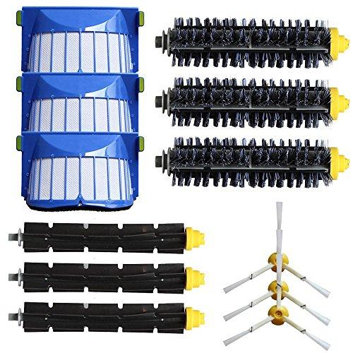 3pc Borstenpinsel + 3pc flexible Klopferbürsten + 3pc 3-armige Seitenbürsten + 3pc Filter Kit für iRobot Roomba 600 Serie 620 630 650 660 Vakuum Reinigung Ersatzteil-Kit, Staubsauger Zubehör