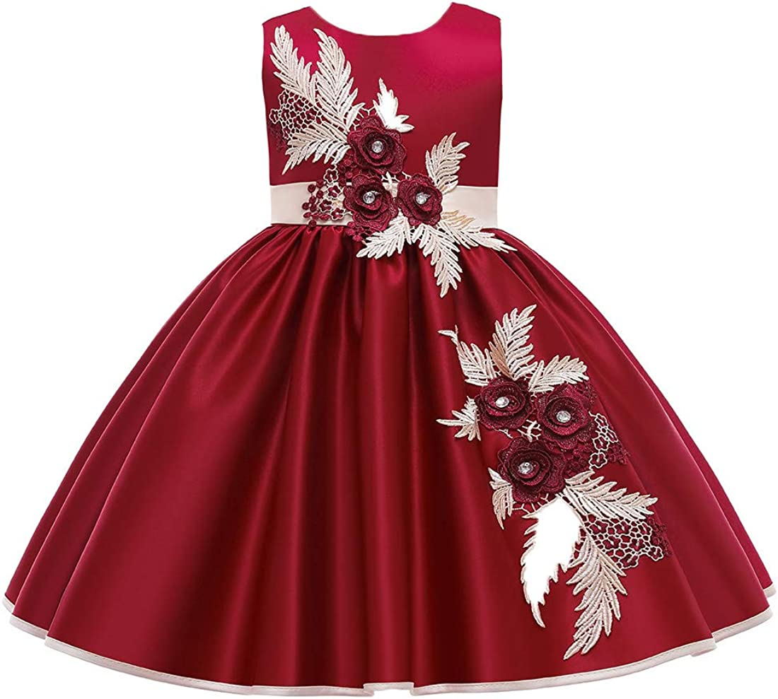 VEOAY Embroidered Satin Flower Girl Dress Pageant Princess 3D Flower Birthday Girl Dress Wedding Party Dresses for 3-10Years
