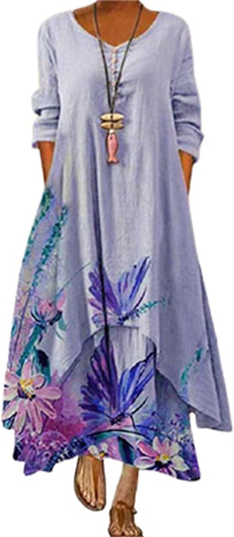 Blivener Plus Size Bohemian Floral Dress for Women Loose Boho Maxi Dresses with Pockets